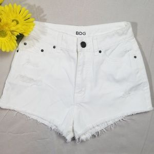 BDG High Rise Dree Cheeky White Shorts Size 24w